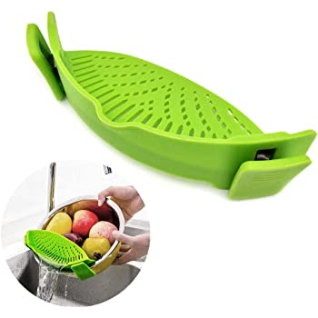 WeTest Heat Resistant Silicone Pot Strainer, Clip on Pots Pans, Pan Strainer for all Pots and Bowls - Green