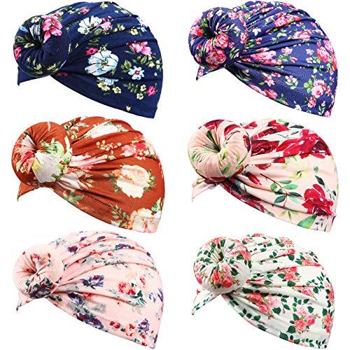 Syhood 6 Sombreros Turbantes de Algodón Gorro con Nudo con Estampado Floral para Bebé