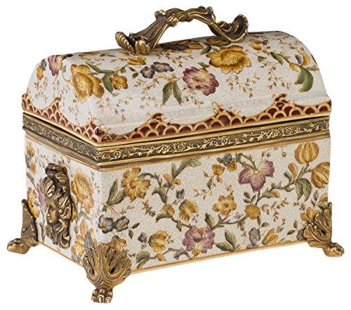 aubaho Boîte Fleur Porcelaine Laiton Style Antique - 26cm
