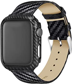 Carbon Fiber Genuine Leather Apple Watch Band 40MM Suit,High-Gloss,Twill Weave Finish,Ultra Thin Apple Watch Protective Case(PC) Compatible Apple Watch Series 4
