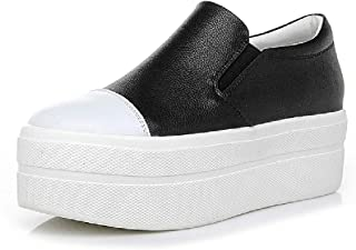Women's Casual Shoes 2019 New Low-Top Casual Shoes Leather Invisible Heightening Shoes Platform Shoes Athletic Shoes,Black,34