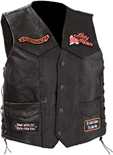Diamond Plate™ Ladies Rock Design Genuine Leather Vest with Patches