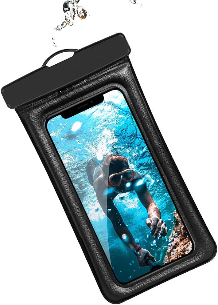 2 Pack Floating Airbag Waterproof Swim Bag Phone Case Water Proof Cell Phone Pouch Dry Bag for iPhone Xs/11/12 Pro Max Xr Samsung Galxy S20 fe S21 A50 A51 A52 Huawei Xiaomi Travel Water Park (Black)