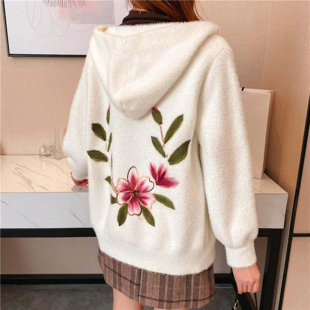 CHENGYYDP Cardigan Women's Tops, Sweaters, and Winter Hooded Cropped Coats, Korean Thick Embroidered Student Tops (Color : C, Size : One Size)