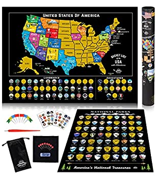 Scratch Off Map of United States + ALL 63 US National Parks Scratch Off Poster 85 USA Landmarks Travel Map Kit 50 State Photo Wall Adventure Maps Journal Gifts for Travelers by Bright Standards