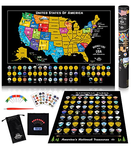 Scratch Off Map of United States + ALL 63 US National Parks Scratch Off Poster, 85 USA Landmarks, Travel Map Kit, 50 State Photo Wall Adventure Maps,...