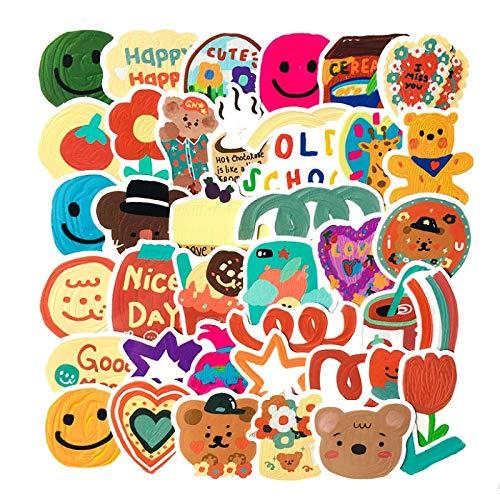 JZLMF 30/40 niños acuarela Graffiti mano pegatinas pegatinas lindas pintadas a mano maleta casco, portatil impermeable YH469-A40-SZ