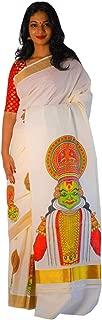 Southloom Women's Kerala Kasavu Saree with Mural Kathakali Design (Cream)