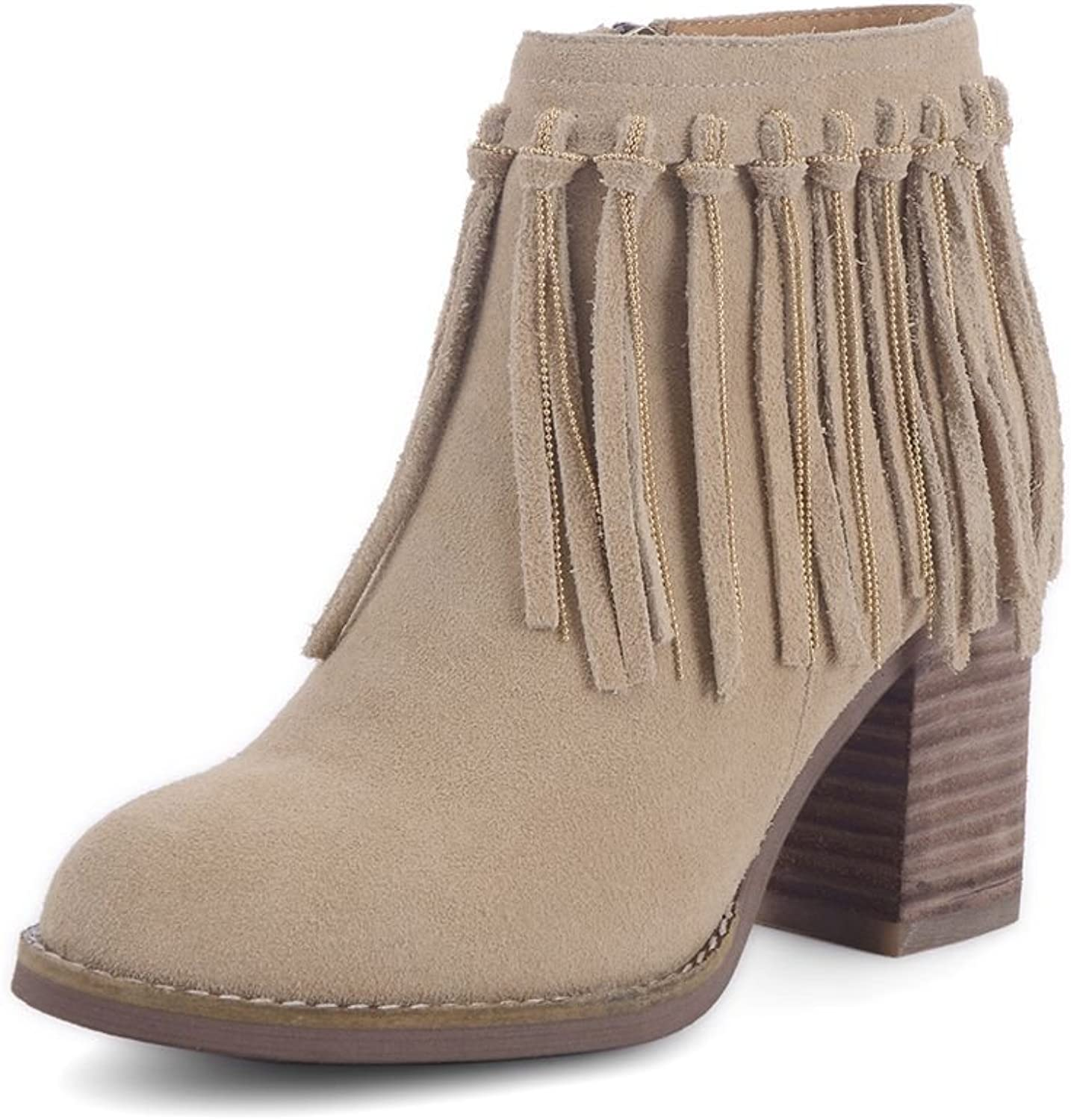SaraIris Fringe Chunky Heels Ankle Boots for Women