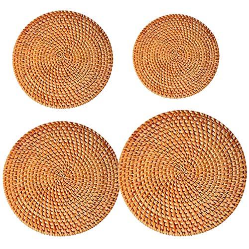 dancepandas Sottobicchieri in Rattan 4 Pezzi Set di Tovagliette Rotonde in Bambu Tovagliette da tè Vintage Antiscivolo, Resistente al Calore, Isolante, per Tavolo da Cucina