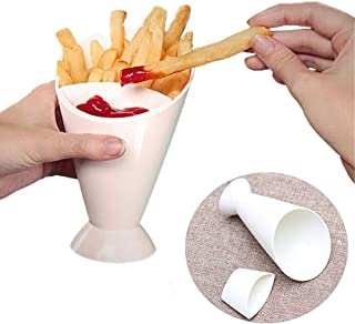 TBWHL IN-car French Fry Holder with Sauce Cup Holder Dip Set 2 In 1 French Fry Cone Dipping Cups For French Fries And Veggies
