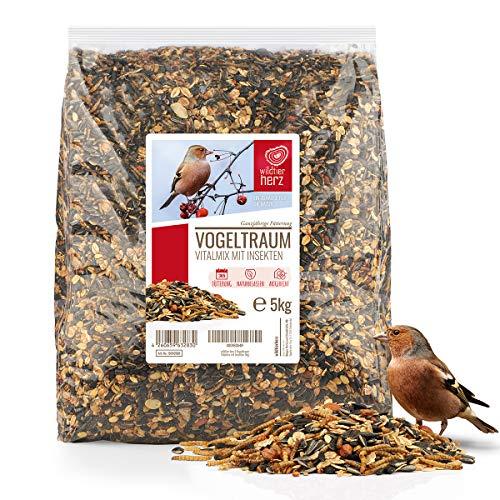 wildtier herz I Vogeltraum Vitalmix Brutzeitfutter - Premium Insekten Vogelfutter 5kg, Wildvogelfutter extra Protein für Eltern, Brut und Jungvögel, Vogel Streufutter, Fettfutter Vögel