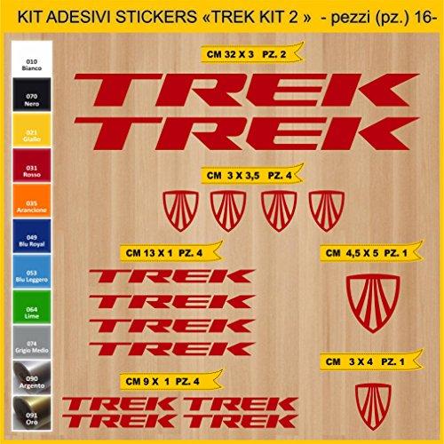 Adesivi Bici Trek_Kit 2_ Kit Adesivi Stickers 16 Pezzi -Scegli SUBITO Colore- Bike Cycle pegatina cod.0897 (031 Rosso)