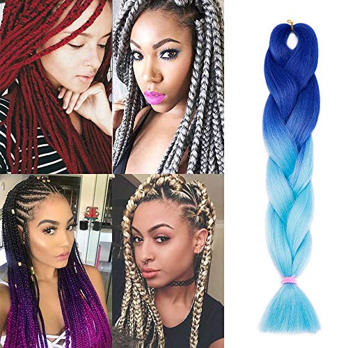 Silk-co Extensiones de Pelo Sintético para Trenzas Africanas Braiding Hair Cabello Se Ve Natural Braiding Twist Crochet Hair 1Pieza #Azul-Zafiro (60cm,100g)