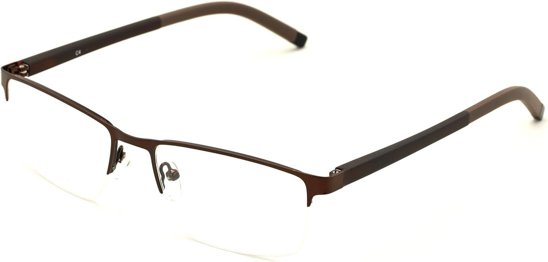 V.W.E. Men Half Rimless Rectangular Non-prescription Glasses Frame Clear Lens Eyeglasses Slim TR90