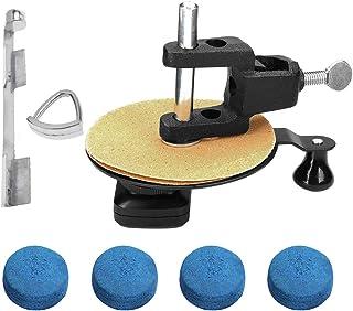 Gimiton Rapid Cue Top Sander Repair Billiard Pool Stick Tip + Aluminum Pool Cue Clamp + 4Pack 13mm Pool Billiard Cue Tips, Repair Pool Billiard Cue Stick