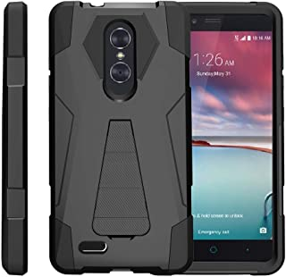 TurtleArmor | Compatible with ZTE ZMax Pro Case | ZTE Blade X Max Case [Dynamic Shell] Hybrid Duo Cover Impact Absorbent Shock Silicone Layer Kickstand Hard Shell Animal - Black