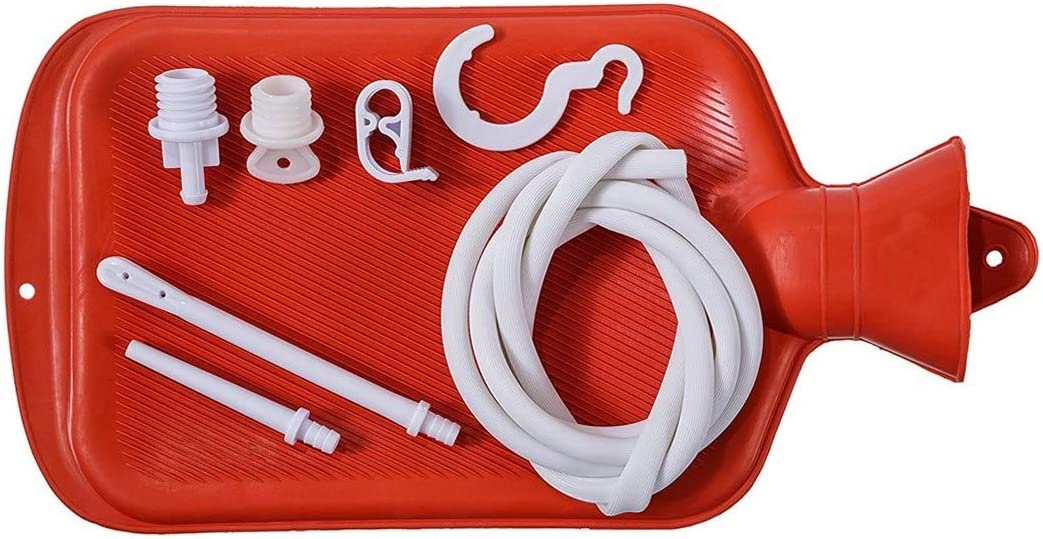 Enema Bag Kit 2 Quart Home Water & Coffee Colon Cleansing Kit BPA Free Hot-Water Bag with 5 Foot Long Hose