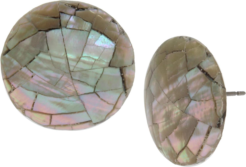 Robert Lee Morris Soho Mosaic Shell Round Stud Earrings, BLUE (21248312K463)