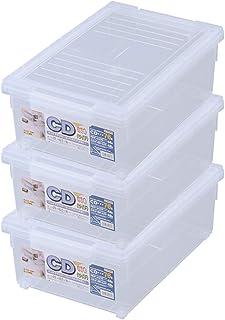 天馬 ディスク収納ボックス CDいれと庫 ワイド 3個セット クリア 約18×29×46.5cm