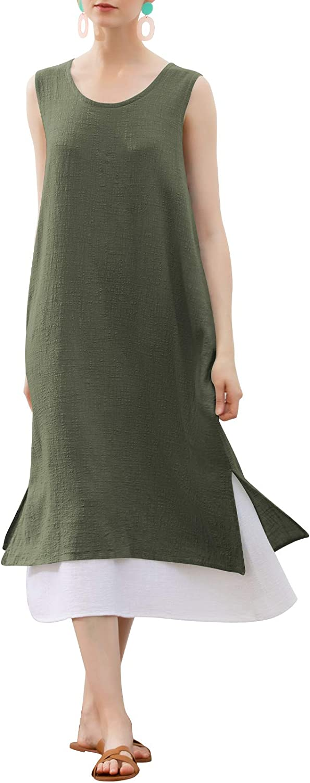 MEOMUA Women's Linen Cotton Dress Double Layer Sleeveless Summer Dresses