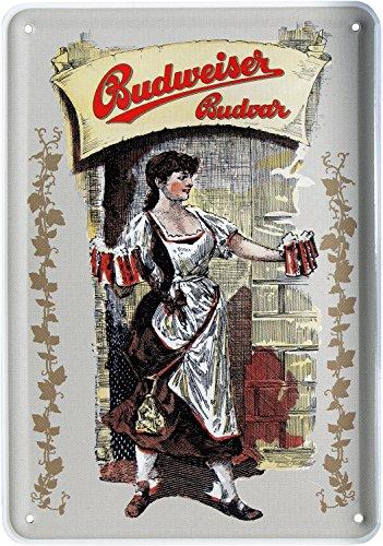 Blechpostkarte Budweiser BUDVAR Kellnerin Bier 10x14cm Blechkarte PKM 54