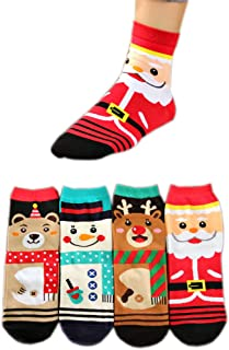 AnVei-Nao Women Girl Christmas Snowman Elk Santa Claus Cotton Crew Socks 4 Pack