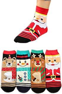 AnVei-Nao Women Girl Christmas Snowman Elk Santa Claus Cotton Crew Socks 4 Pack