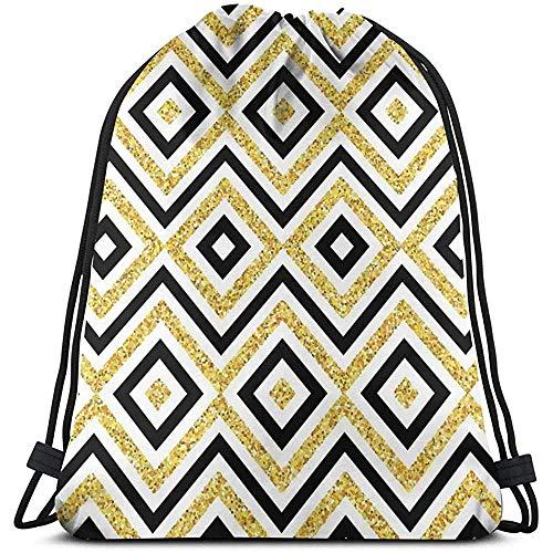 Mochila con cordón, bolsa de cordón, diseño étnico de Zig Zag y cuadrados, diseño contemporáneo con impresión artística, bolsa de viaje, paquete de cincha deportiva