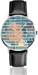 JohnMichelle Unisex Woman's Men's Lil Wayne Tha Carter III Leather Watch Stainless Steel Quartz Watch Business Dress Wrist Watch 40mm Case Gift
