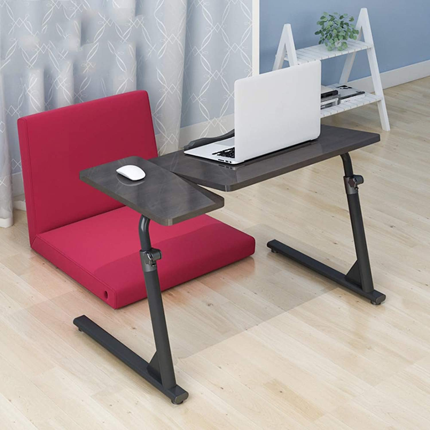 QFFL Table Bedside Breakfast Table, Lazy Table Foldable Laptop Desktop Game Table Coffee Magazine Table Lapdesks (color   Black, Size   80  40  50-76)