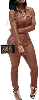 neveraway Womens Pu Leather Oversized Fit Athletic 2pcs Set Tracksuit Jog Set