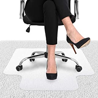 Office Chair Mat for Carpeted Floors - Carpet Floor Protector for Low Pile Carpets, Non-Slip Desks Mat for Home and Office(White)