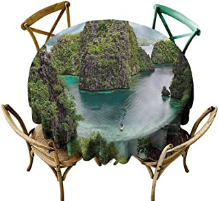 UETECH Tulle Round Tablecloth Island,Cliff in Philippines Dinning Tabletop Decoration Diameter 36