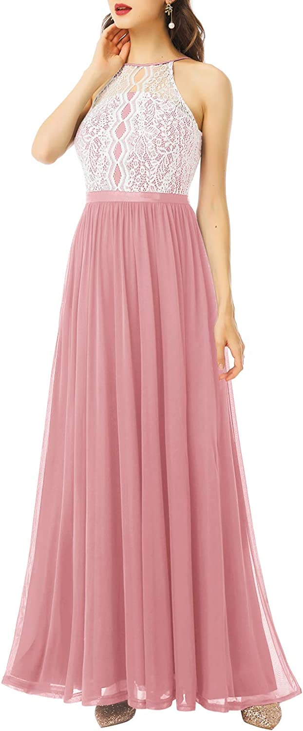 Dressystar Women Halter Formal Dress Floral Lace Chiffon Long Bridesmaid  Evening Party Gown