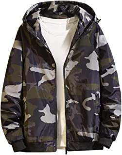 Hoodies for Men Zipper Camouflage Printing Long Sleeve Fashion Slim Fit Fall Pullover Tops Sweatshirts Plus Size 5XL