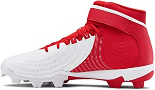 Under Armour Men's Harper 4 Mid RM Baseball Shoe, Red (600)/White, 7