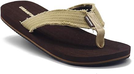 d938a496e34d URBANFIND Men s Flip Flops Canvas Thong Sandals Flat Slide On TPR Non Slip  Slippers