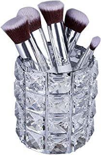 Nesee Makeup Brush Holders, Handcrafted Crystal Rotating Makeup Brush Holder Eyebrow Pencil Pen Cup Collection Cosmetic Storage Organizer for Vanity,Bathroom,Bedroom,Office Desk(Ship from US)