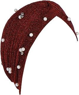 MoreChioce Donna Turbante con Glitter,Estivo Moda Copricapo Headwear Bandane Muslim Croce Hijab Beanie Hat Headwear Bandane