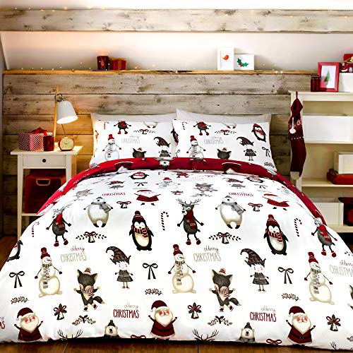 Bedlam Christmas - Christmas Buddies - Easy Care Duvet Cover Set | Single Bed Size | Red Bedding