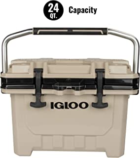 Igloo IMX 24 Quart Cooler with Cool Riser Technology, Fish Ruler, and Tie-Down Points - Heavy-Duty Marine Ice Chest - Tan