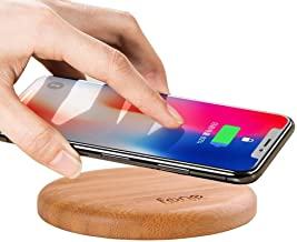 WoodPuck: Bamboo Edition Fast Wireless Charger, 7.5W Charging for iPhone XS, XS Max, XR, X,8,8 Plus,10W Fast Charger for Galaxy S10/S10Plus/S10e/S9/S9 Plus/S8/S8+, Note 9/8/5, and more (No AC Adapter)