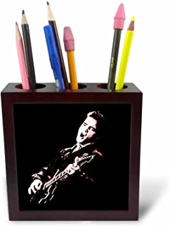 3dRose Elvis Presley with His Guitar. Tile Pen Holder, 5