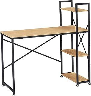 BenyLed Bureau Informatique,Table D'étude Bureau D'ordinateur avec étagères de Rangement, Bureaux et Postes de Travail pou...