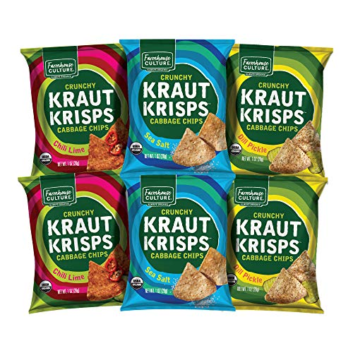 Variety Pack Kraut Krisps by Farmhouse Culture, Snack-Size Bags, Crunchy Cabbage Chips, Organic, Vegan, Gluten Free, No Added Sugars, 6 pack, 1 oz
