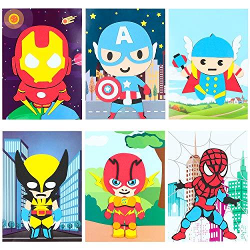 PANTIDE 10Pcs Superhero Mosaic Sticker Art Kits for Kids, Superhero themed DIY Sticky 3D Handmade Foam Art Puzzles, Superhero Drawing Mosaic Sticker Craft Activity, Birthday Gift for Toddlers