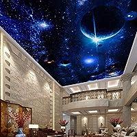 カスタム天井壁画3D壁紙スタープラネットユニバーススペース壁壁画リビングルームキッチンホテルレストランリビングルーム自己粘着性壁紙 250x175CM