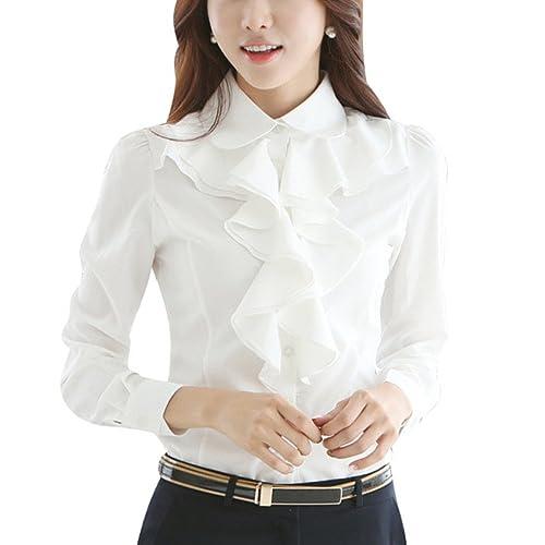 0fe51fb84 skyblue-uk Women Chiffon Blouse Frill Ruffle Collar Long Sleeve OL Tops  Shirts White