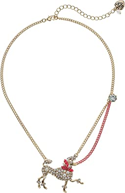 Betsey Johnson - Crystal and Gold Poodle Pendant Necklace